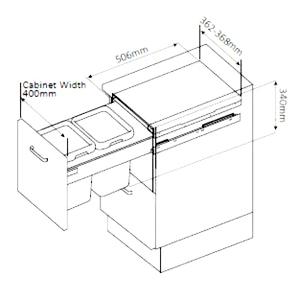 ابعاد مورد نیاز برای نصب سطل زباله 9003 ملونی | ایما یراق