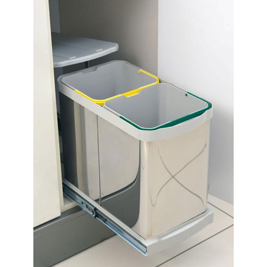 سطل زباله دو مخزنه ریلی استیل کابینت پلیکان | ایما یراق