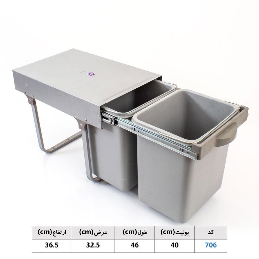 سطل زباله ریلی دو مخزنه متوسط 703 | ایما یراق