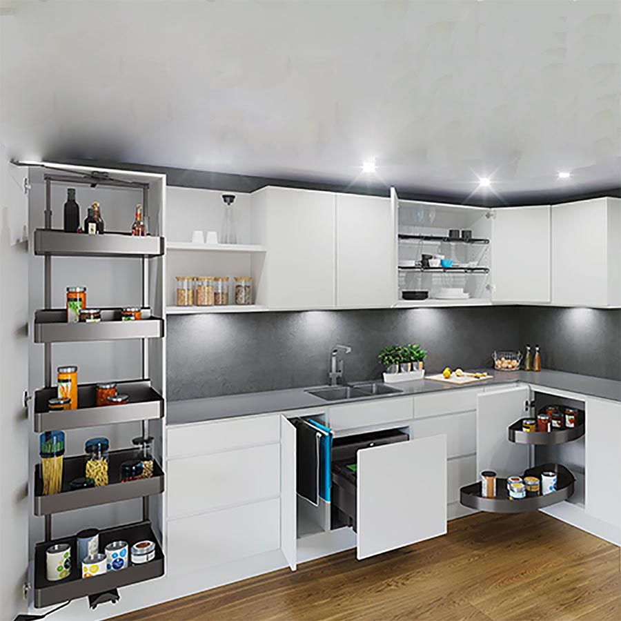 آشپزخانه ای مجهز با سبد تکمیلی کابینت