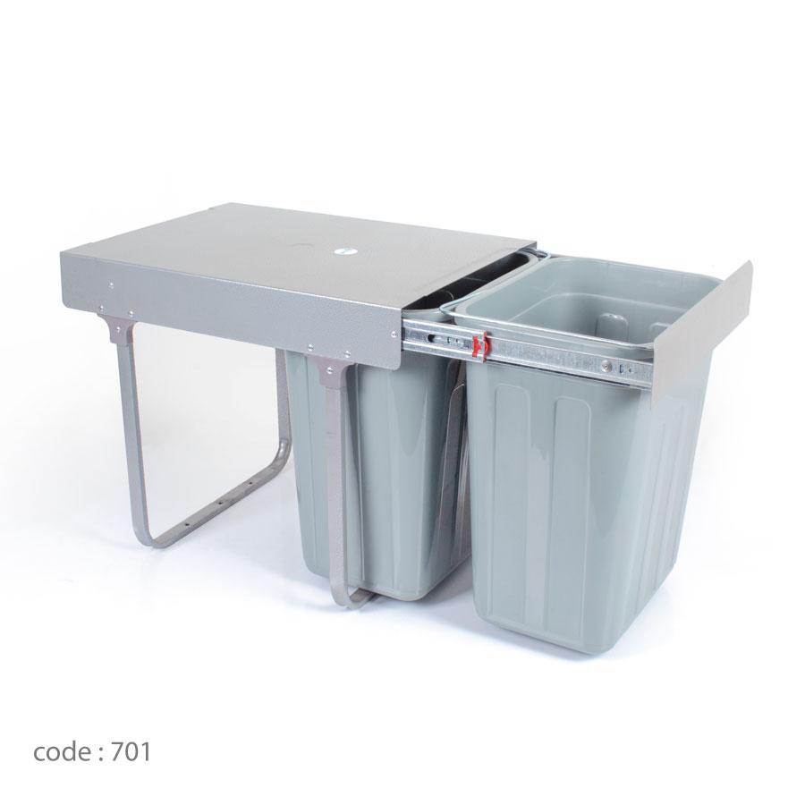 سطل زباله زیر سینکی دو مخزنه درجه 1 آلبا مدل 701-ایما یراق