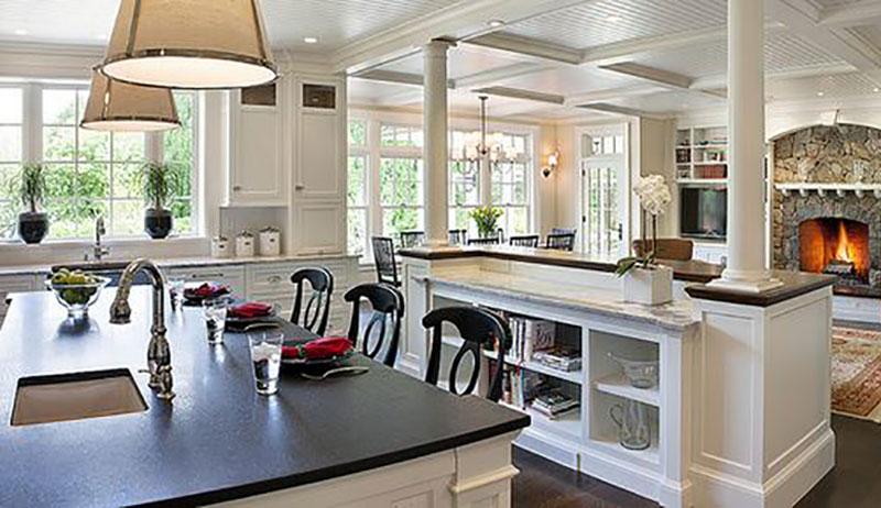 آشپزخانه جزیره ای و نیاز به آبچکان پشت پنجره