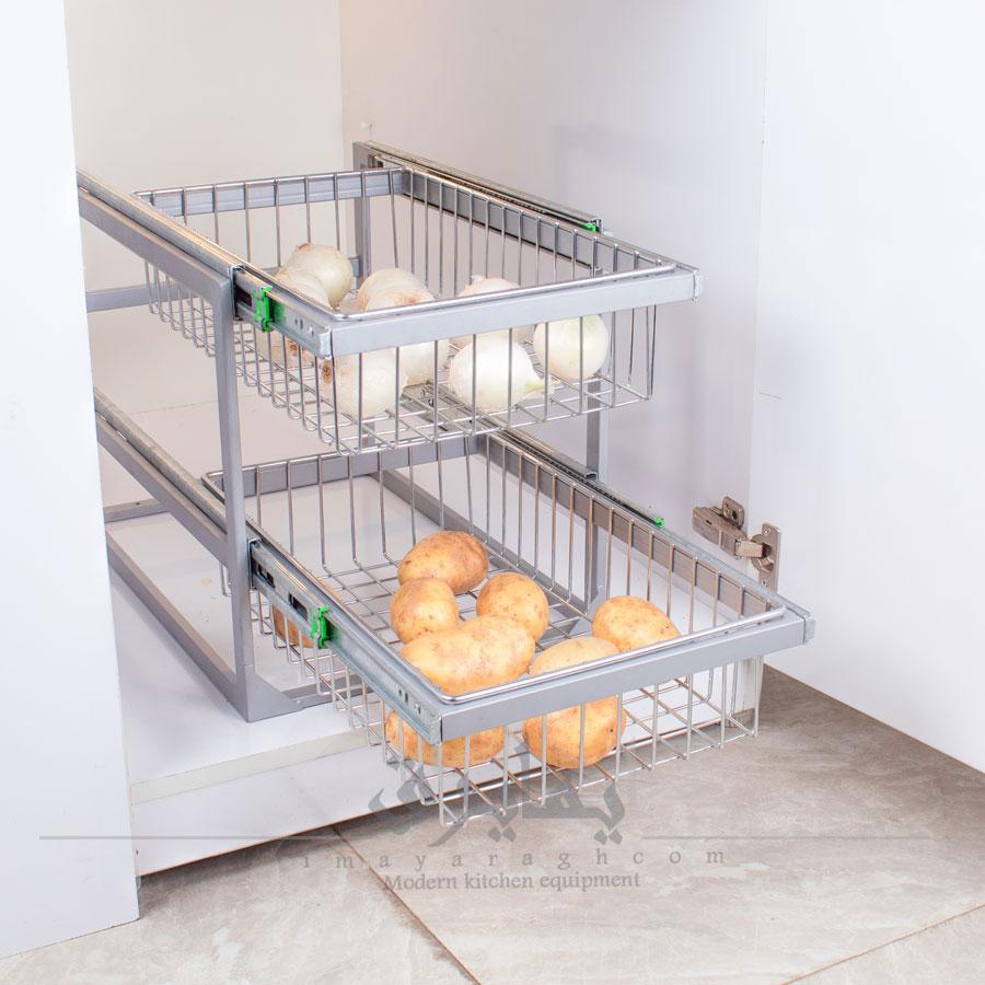 سبد سیب زمینی و پیاز ریلی داخل کابینت آلبا |ایما یراق
