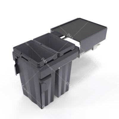 سطل آشغال زیر کابینتی ریلی آرام بند 62 لیتری مدل 9020 ملونی-ایما یراق