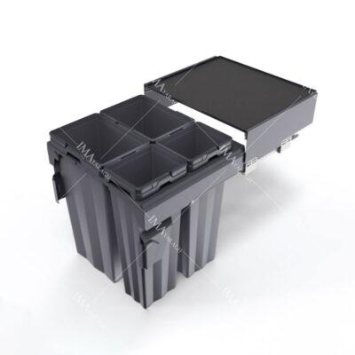 سطل آشغال مخصوص کابینت 4 قلو ریلی آرام بند 94 لیتری مدل 9022 ملونی-ایما یراق